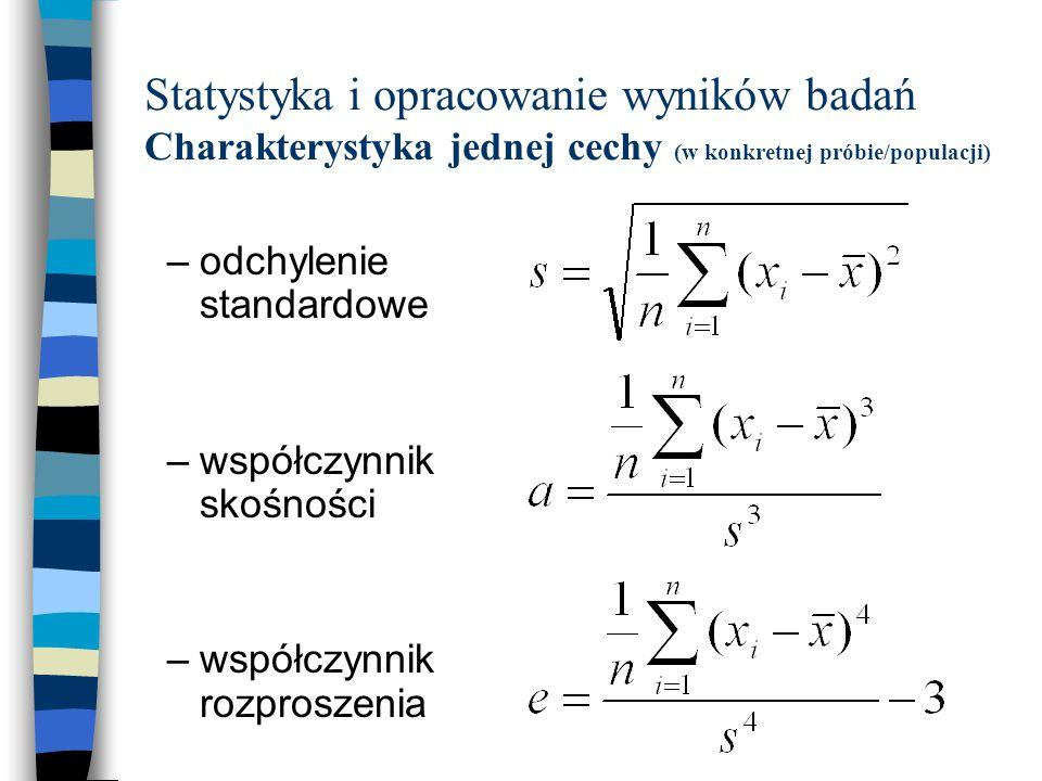 Statystyka i opracowanie wyników badań Charakterystyka jednej cechy (w konkretnej próbie/populacji)