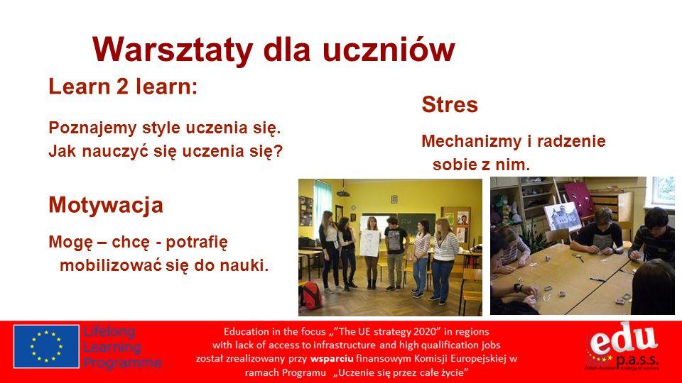 Warsztaty dla uczniów Learn 2 learn: Stres Motywacja