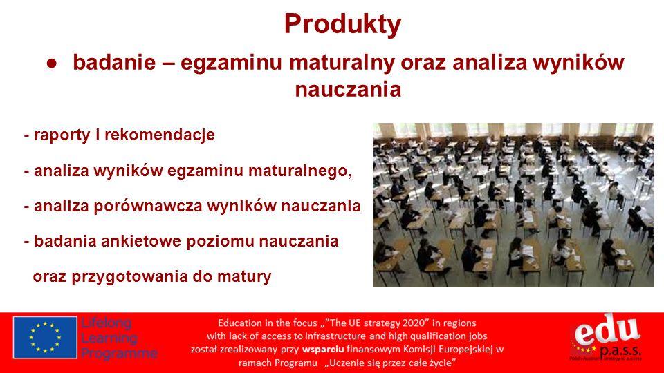 Produkty badanie – egzaminu maturalny oraz analiza wyników nauczania