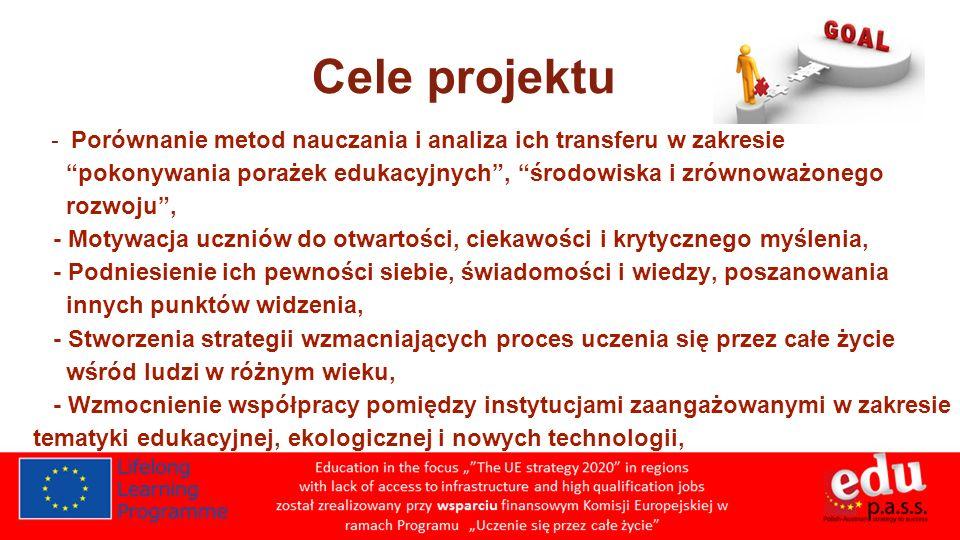 Cele projektu - Porównanie metod nauczania i analiza ich transferu w zakresie. pokonywania porażek edukacyjnych , środowiska i zrównoważonego.