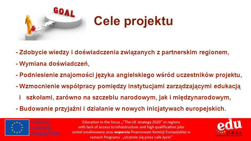 Cele projektu - Zdobycie wiedzy i doświadczenia związanych z partnerskim regionem, - Wymiana doświadczeń,