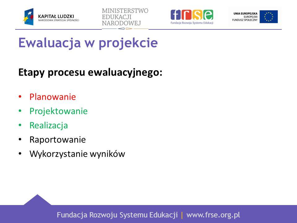 Ewaluacja w projekcie Etapy procesu ewaluacyjnego: Planowanie