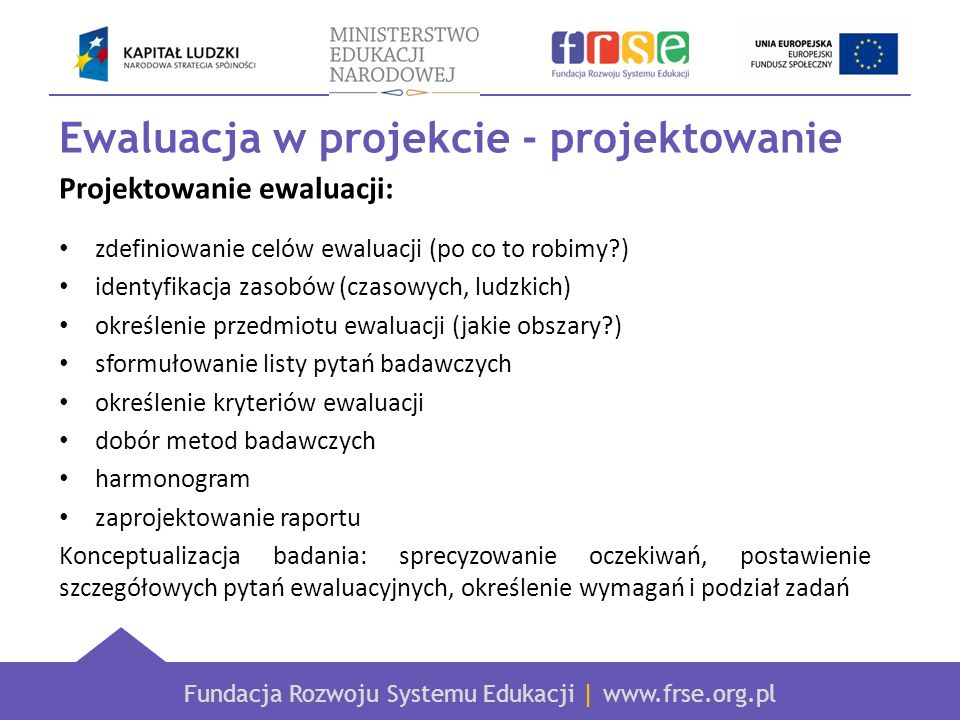 Ewaluacja w projekcie - projektowanie