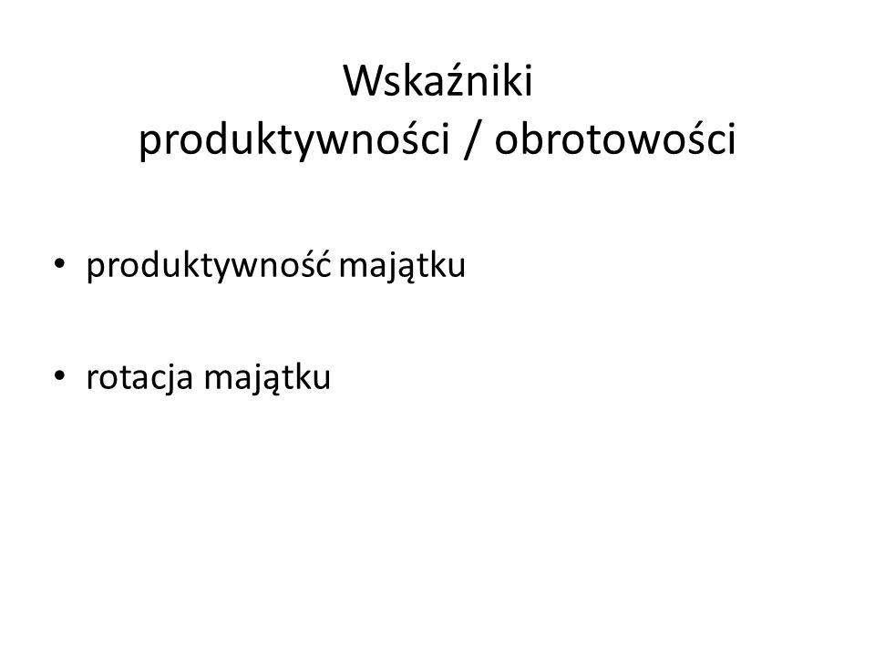Wskaźniki produktywności / obrotowości