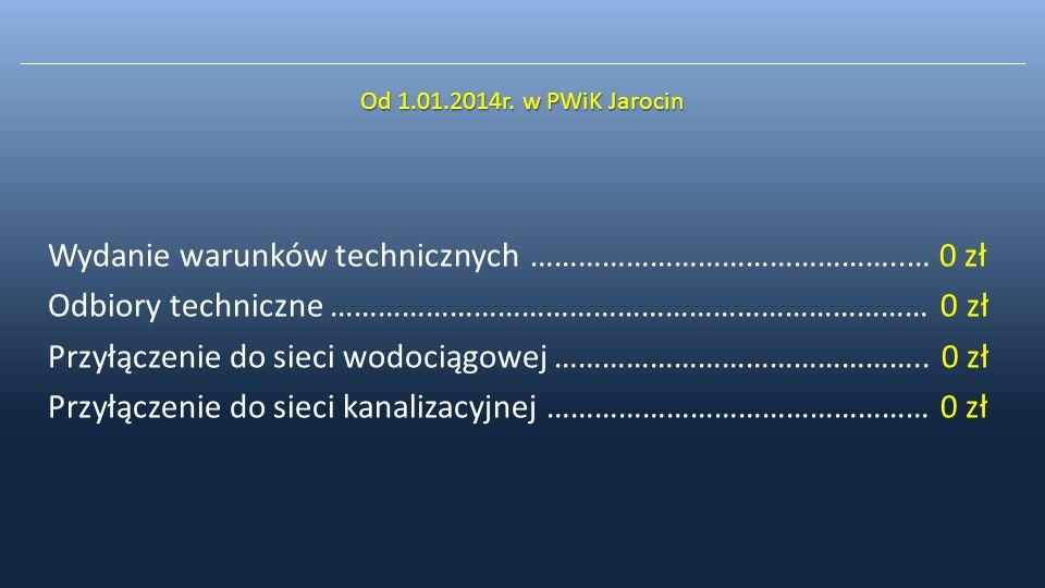 Wydanie warunków technicznych ………………………………………..… 0 zł