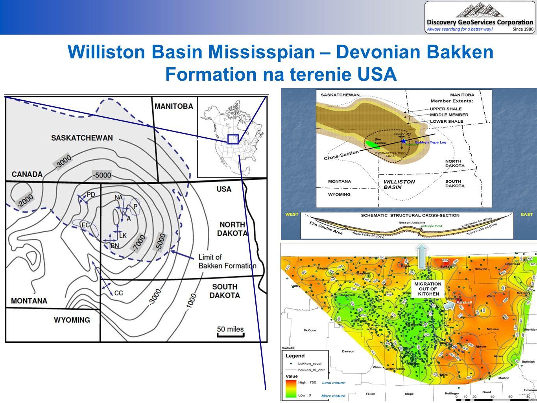 Williston Basin Mississpian – Devonian Bakken Formation na terenie USA