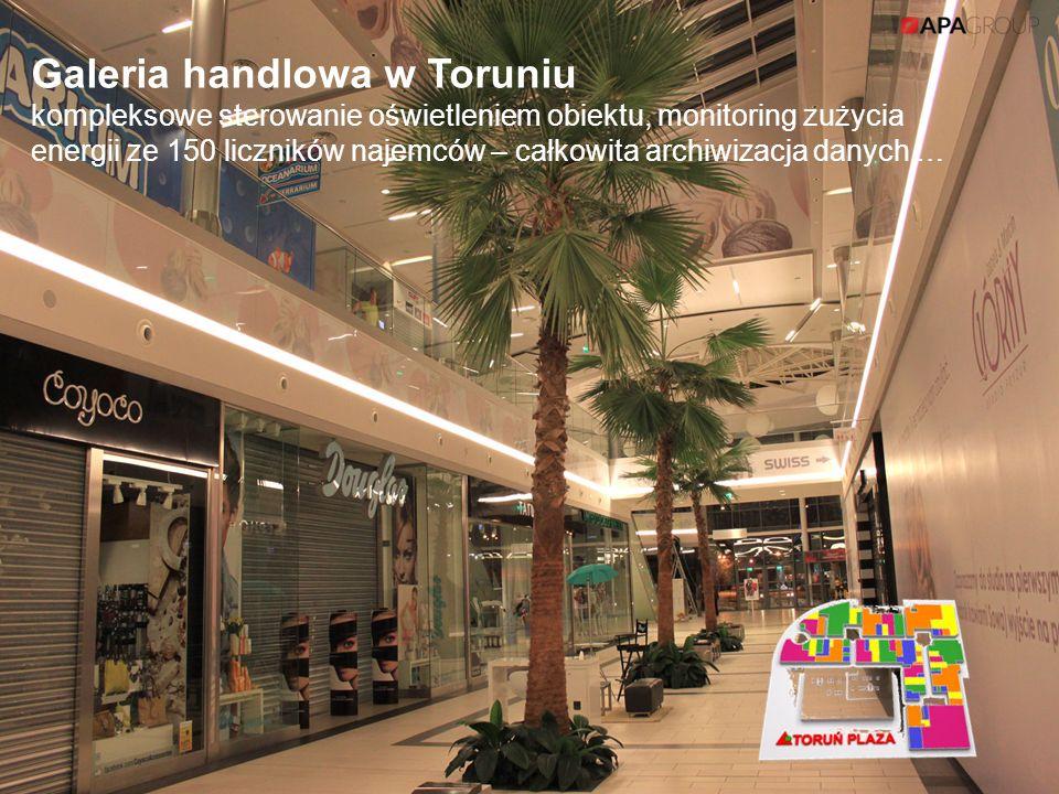 Galeria handlowa w Toruniu kompleksowe sterowanie oświetleniem obiektu, monitoring zużycia energii ze 150 liczników najemców – całkowita archiwizacja danych …