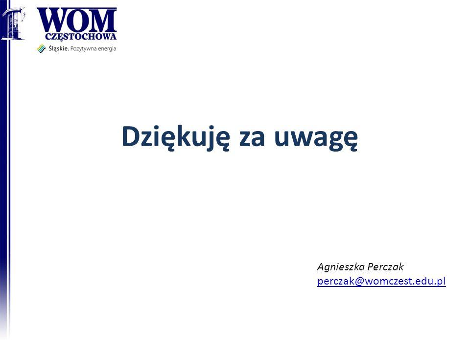 Dziękuję za uwagę Agnieszka Perczak perczak@womczest.edu.pl