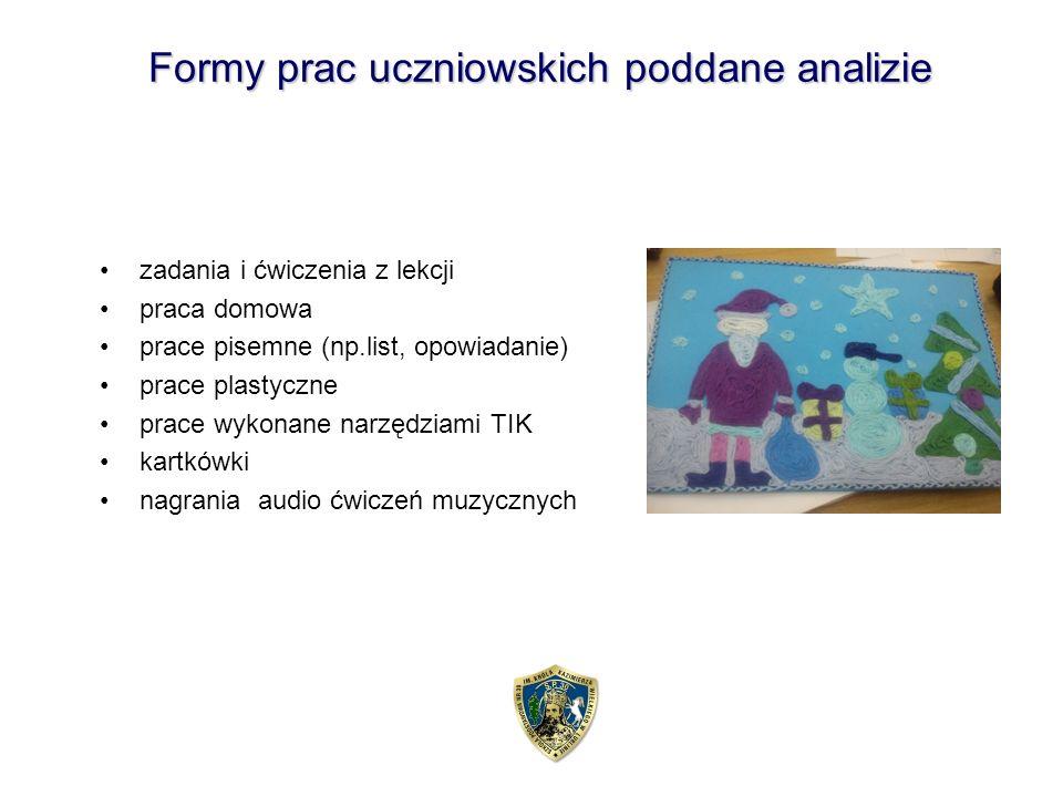 Formy prac uczniowskich poddane analizie