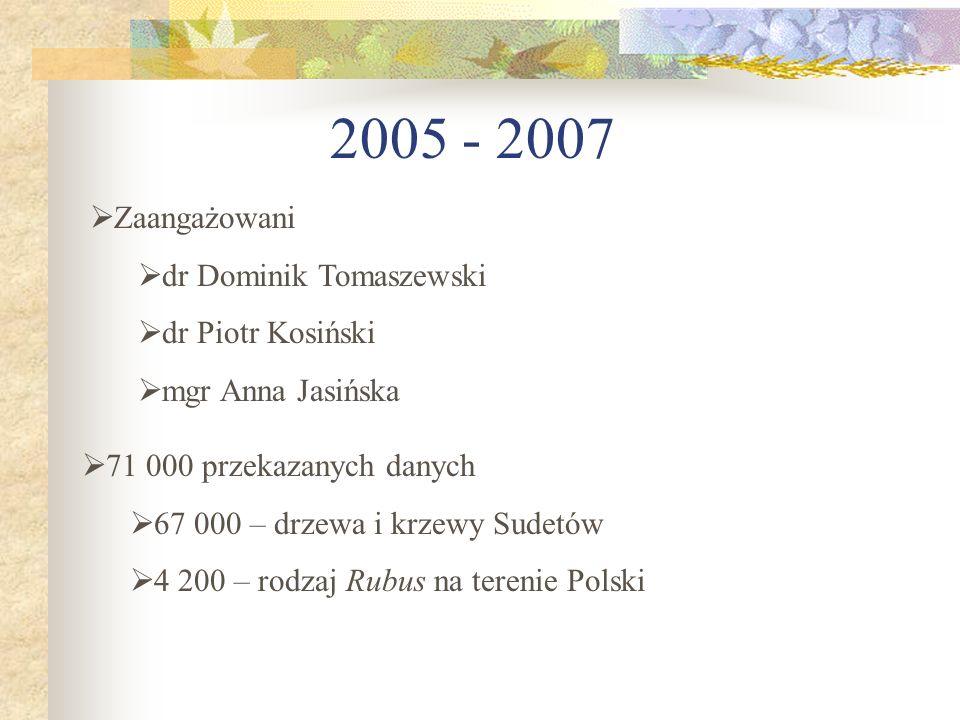 2005 - 2007 Zaangażowani dr Dominik Tomaszewski dr Piotr Kosiński