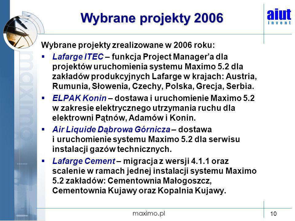 Wybrane projekty 2006 Wybrane projekty zrealizowane w 2006 roku: