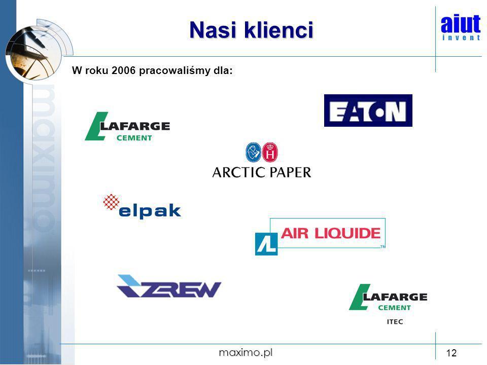 Nasi klienci W roku 2006 pracowaliśmy dla: maximo.pl