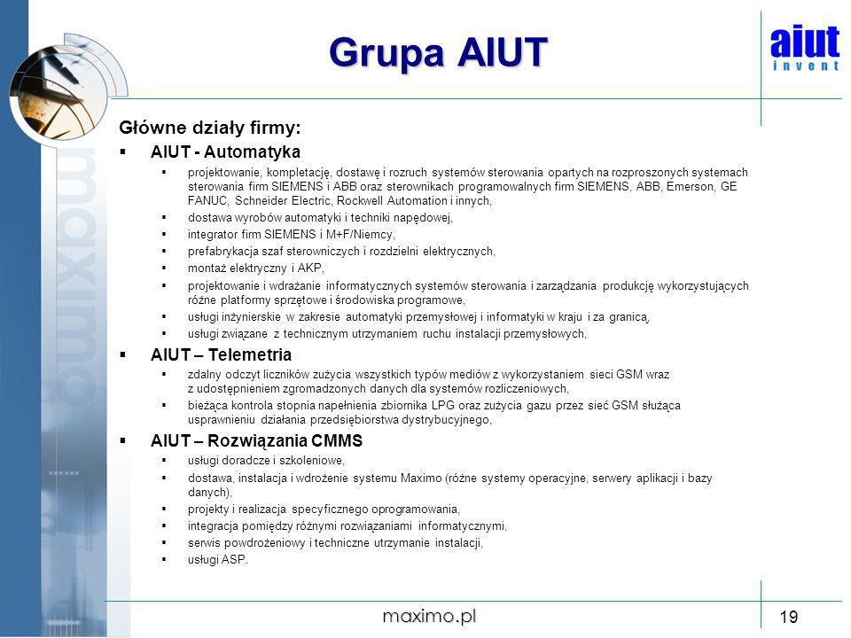 Grupa AIUT Główne działy firmy: maximo.pl AIUT - Automatyka