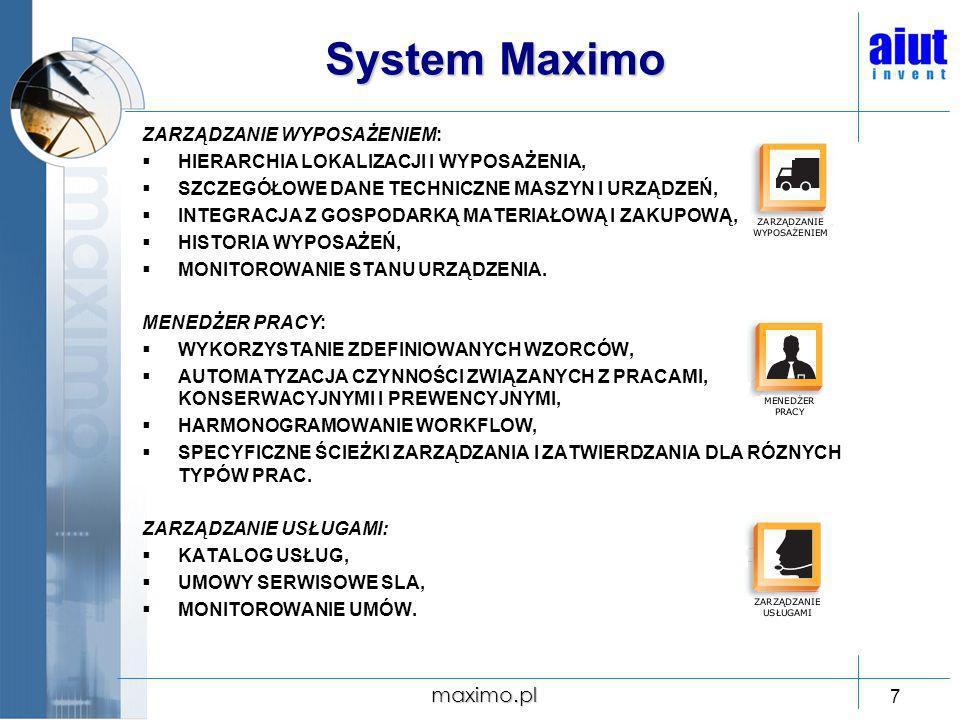 System Maximo maximo.pl ZARZĄDZANIE WYPOSAŻENIEM: