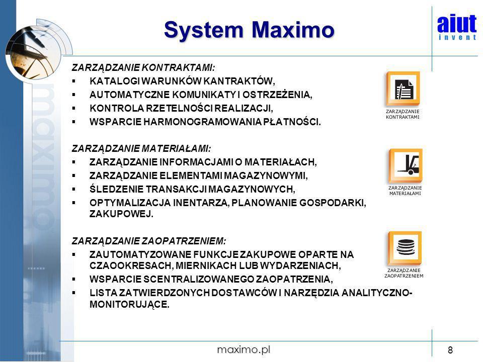 System Maximo maximo.pl ZARZĄDZANIE KONTRAKTAMI: