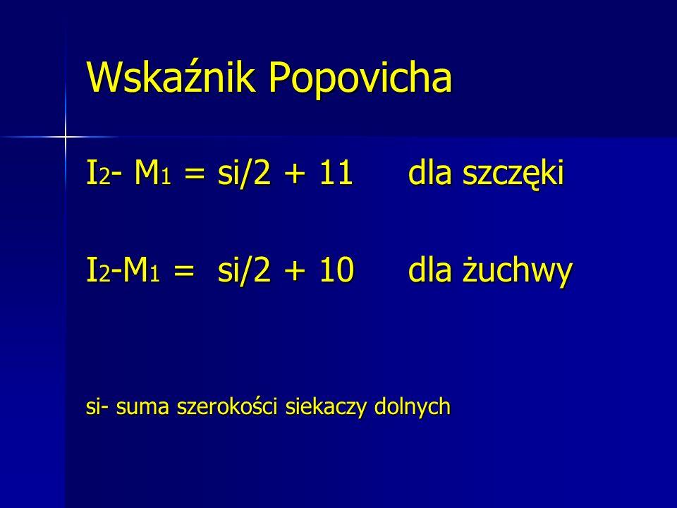 Wskaźnik Popovicha I2- M1 = si/2 + 11 dla szczęki