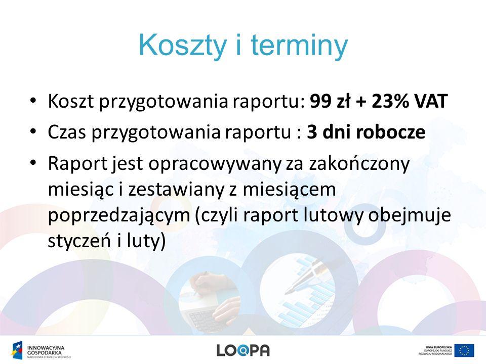 Koszty i terminy Koszt przygotowania raportu: 99 zł + 23% VAT