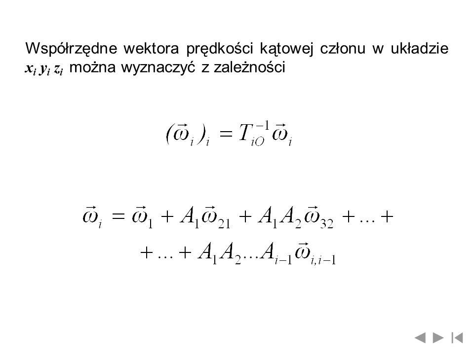 Współrzędne wektora prędkości kątowej członu w układzie xi yi zi można wyznaczyć z zależności