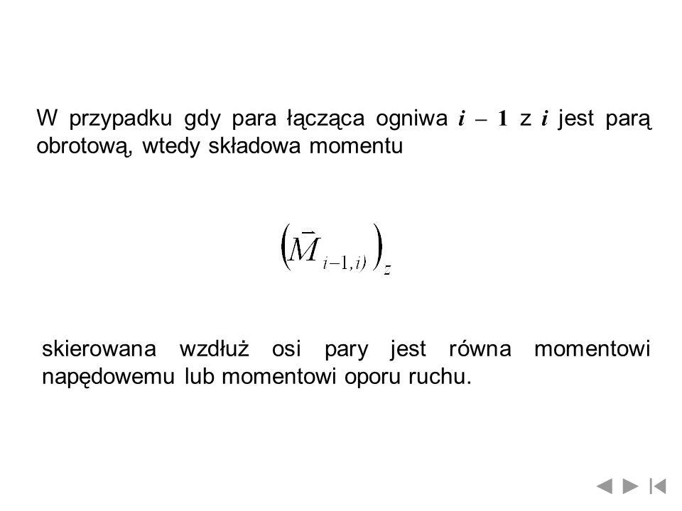 W przypadku gdy para łącząca ogniwa i – 1 z i jest parą obrotową, wtedy składowa momentu
