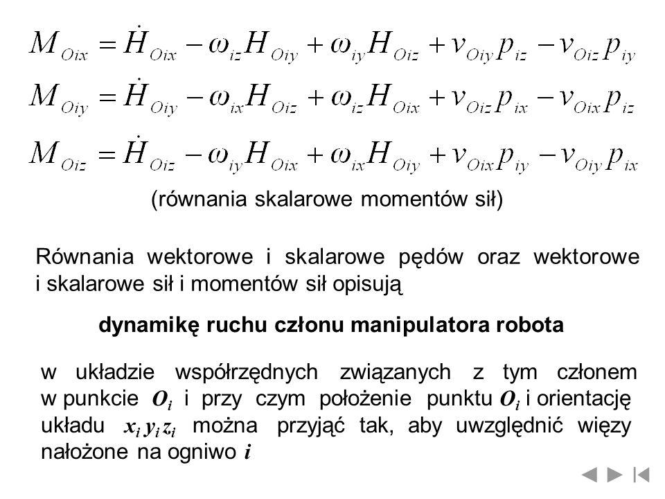 (równania skalarowe momentów sił)