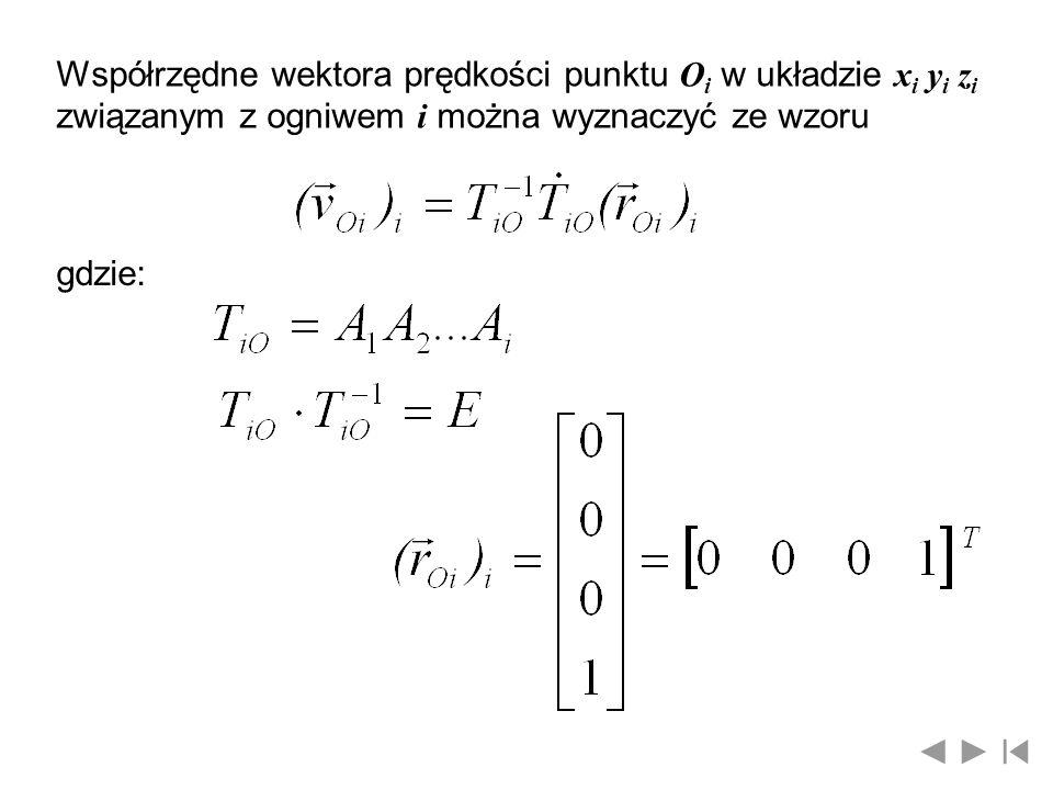 Współrzędne wektora prędkości punktu Oi w układzie xi yi zi