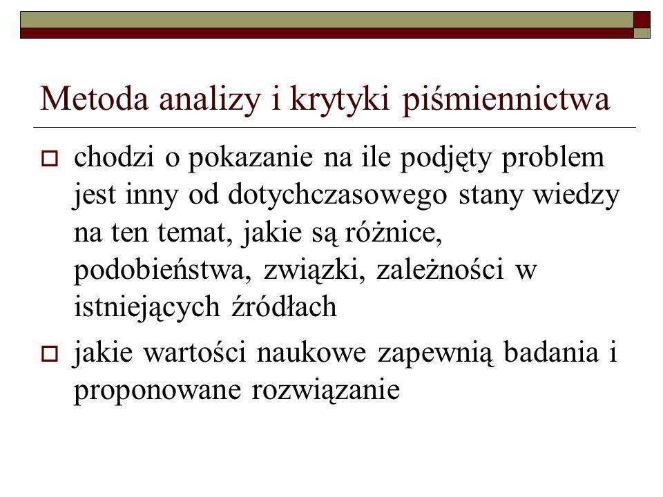 Metoda analizy i krytyki piśmiennictwa