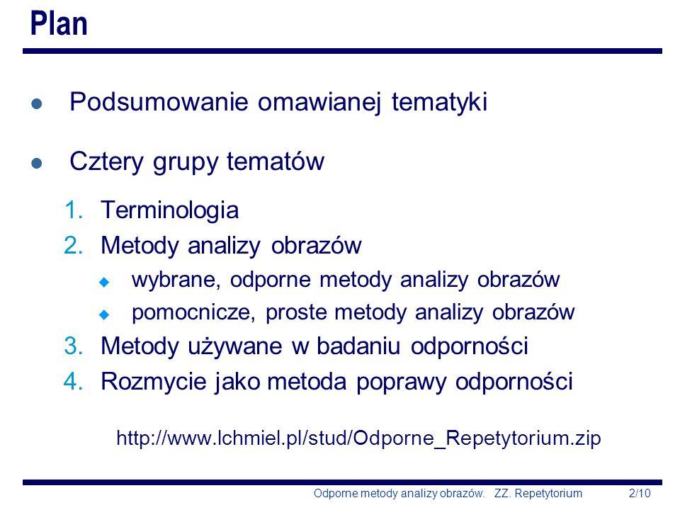 Plan Podsumowanie omawianej tematyki Cztery grupy tematów Terminologia
