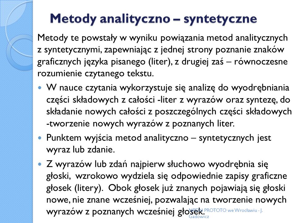 Metody analityczno – syntetyczne