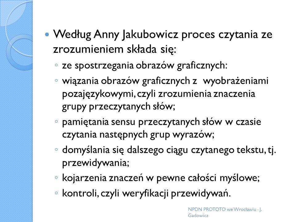 Według Anny Jakubowicz proces czytania ze zrozumieniem składa się:
