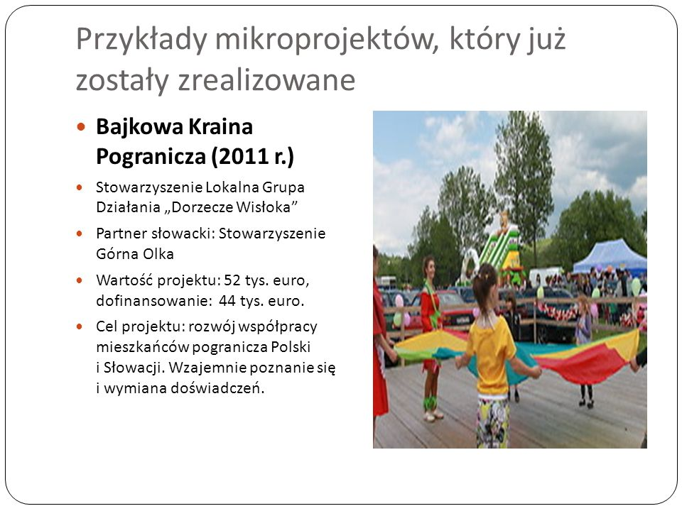 Przykłady mikroprojektów, który już zostały zrealizowane