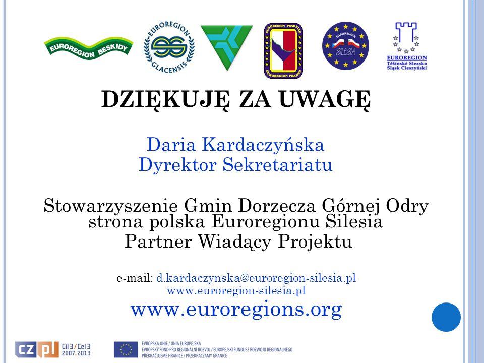 DZIĘKUJĘ ZA UWAGĘ www.euroregions.org Daria Kardaczyńska
