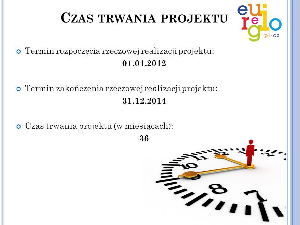 Czas trwania projektu Termin rozpoczęcia rzeczowej realizacji projektu: 01.01.2012. Termin zakończenia rzeczowej realizacji projektu: