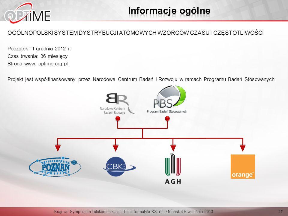 Informacje ogólne OGÓLNOPOLSKI SYSTEM DYSTRYBUCJI ATOMOWYCH WZORCÓW CZASU I CZĘSTOTLIWOŚCI. Początek: 1 grudnia 2012 r.