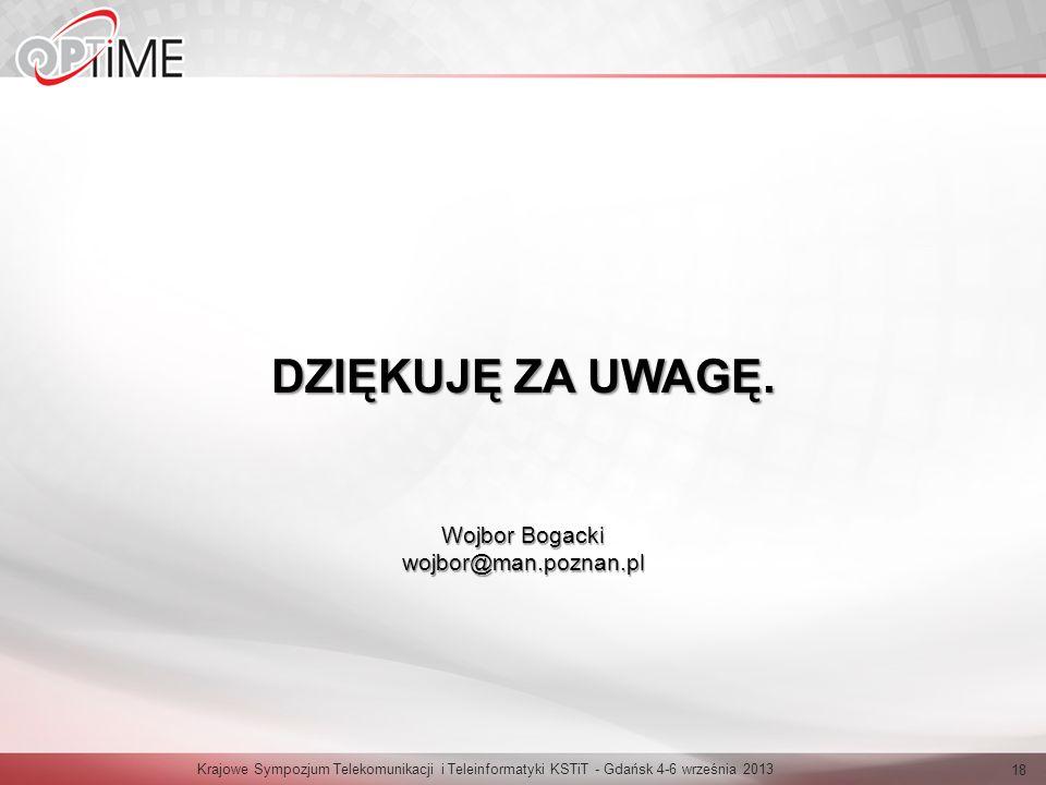 DZIĘKUJĘ ZA UWAGĘ. Wojbor Bogacki wojbor@man.poznan.pl