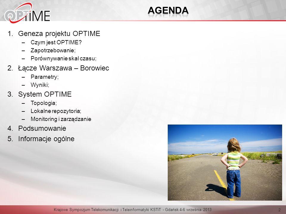 AGENDA Geneza projektu OPTIME Łącze Warszawa – Borowiec System OPTIME