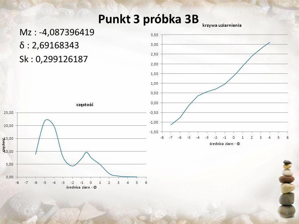Punkt 3 próbka 3B Mz : -4,087396419 δ : 2,69168343 Sk : 0,299126187