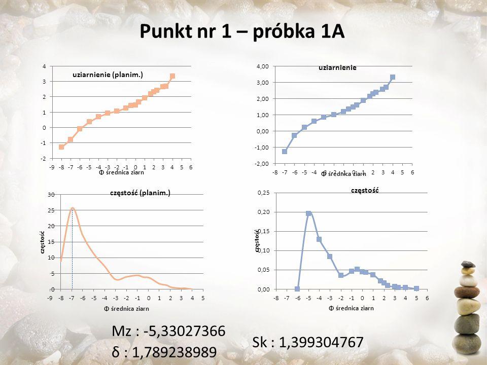Punkt nr 1 – próbka 1A Mz : -5,33027366 Sk : 1,399304767