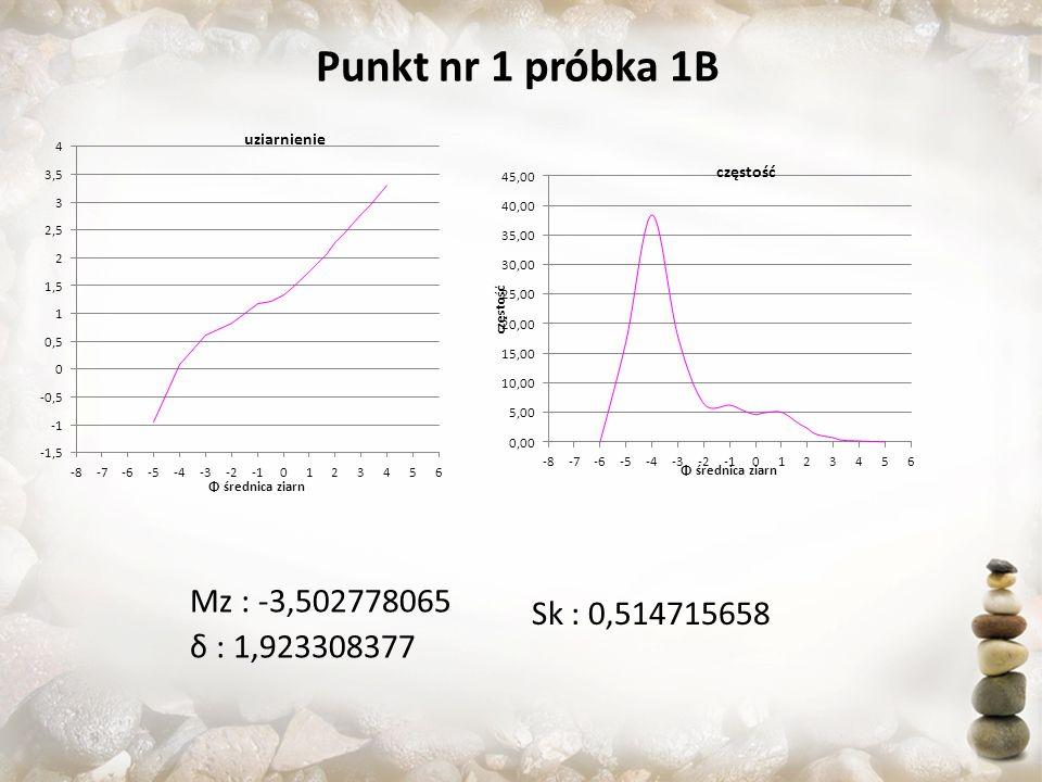 Punkt nr 1 próbka 1B Mz : -3,502778065 Sk : 0,514715658