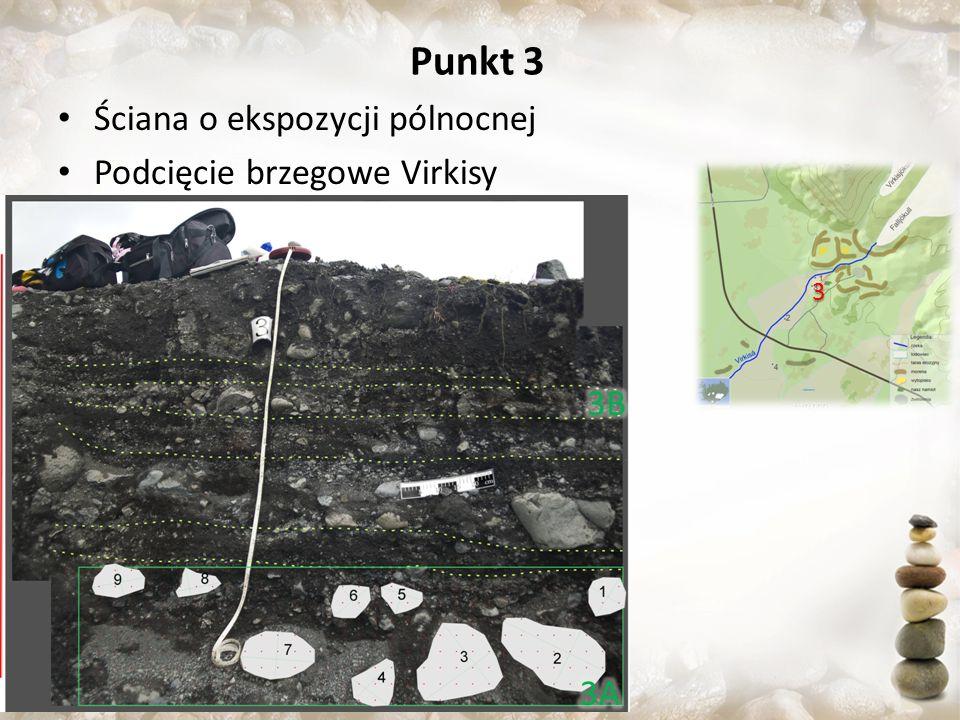 Punkt 3 Ściana o ekspozycji pólnocnej Podcięcie brzegowe Virkisy 3B 3A