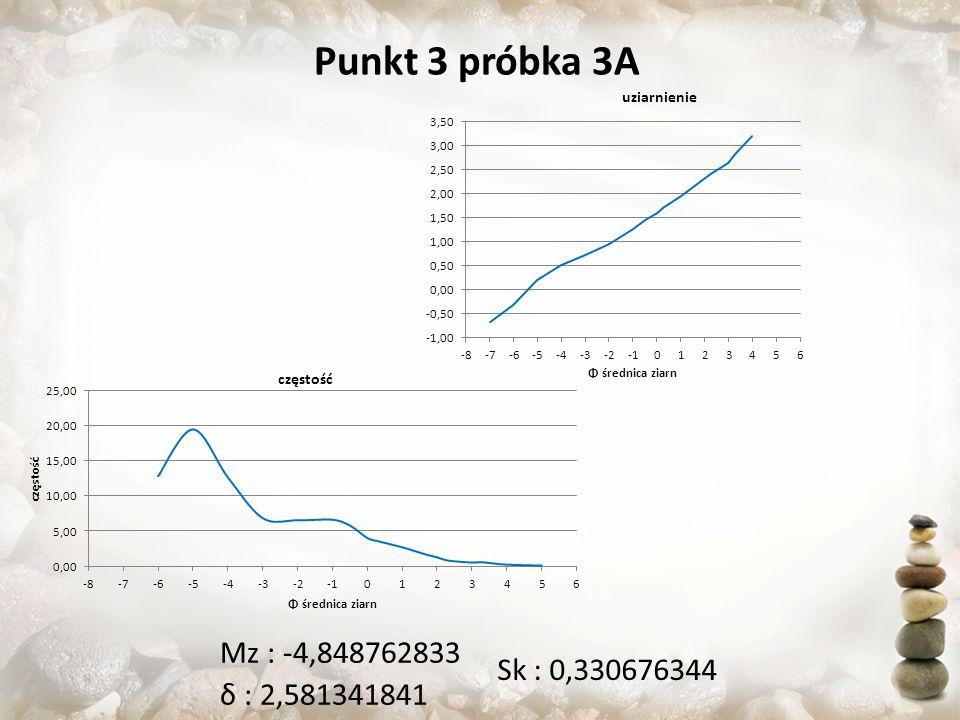 Punkt 3 próbka 3A Mz : -4,848762833 δ : 2,581341841 Sk : 0,330676344