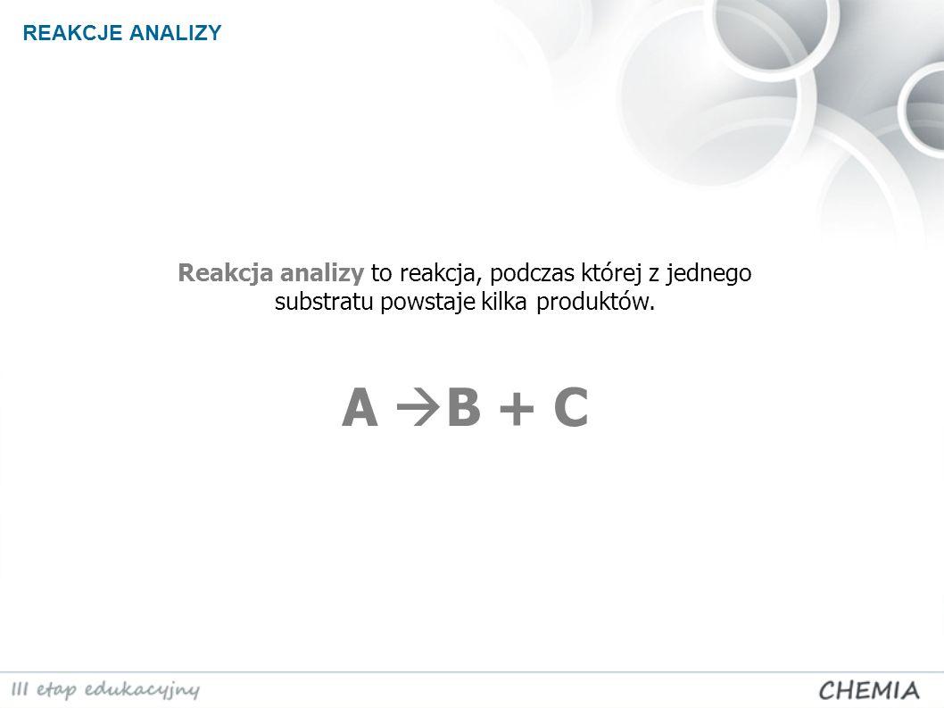 REAKCJE ANALIZY Reakcja analizy to reakcja, podczas której z jednego substratu powstaje kilka produktów.