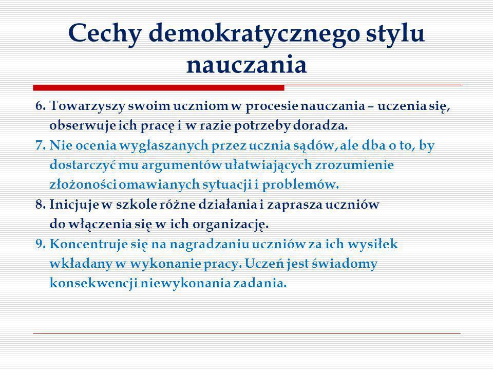Cechy demokratycznego stylu nauczania