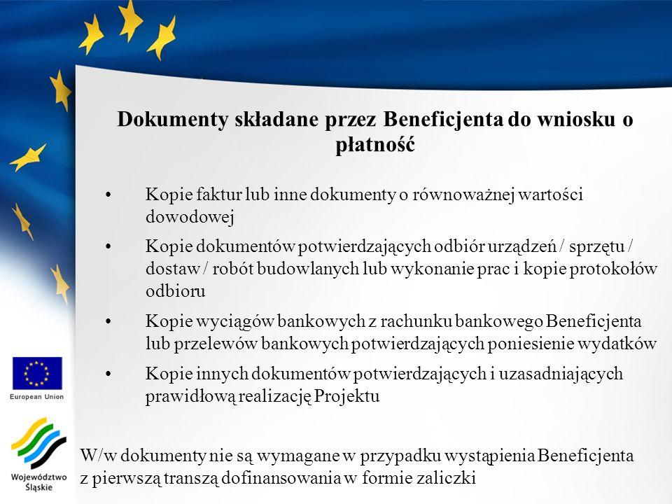 Dokumenty składane przez Beneficjenta do wniosku o płatność