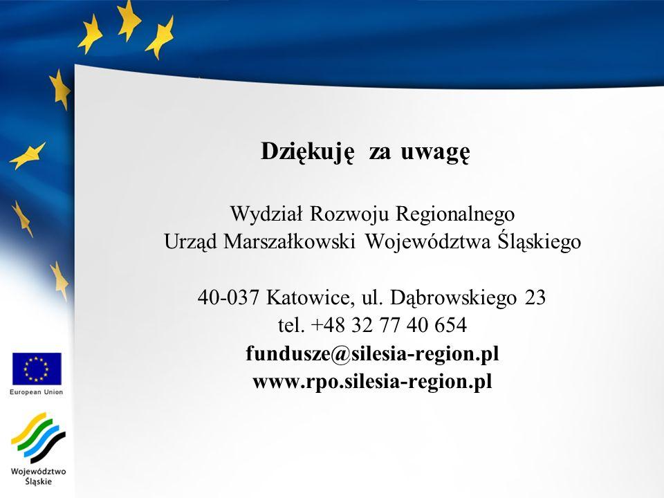 Dziękuję za uwagę Wydział Rozwoju Regionalnego
