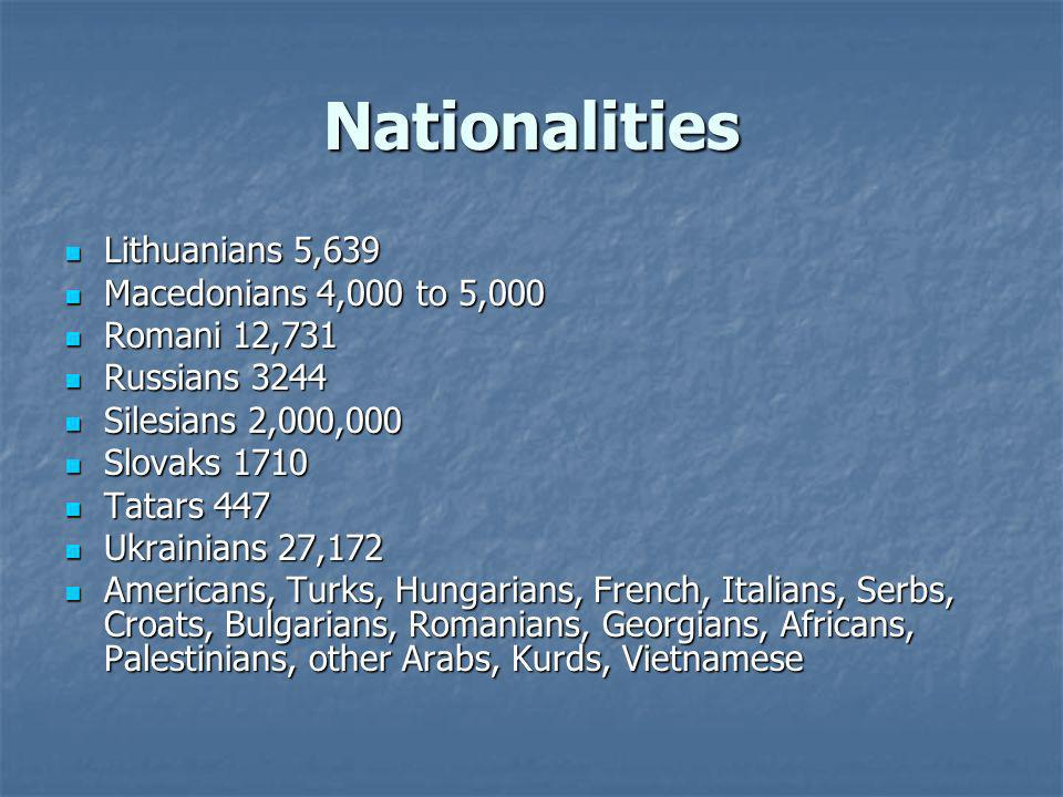Nationalities Lithuanians 5,639 Macedonians 4,000 to 5,000
