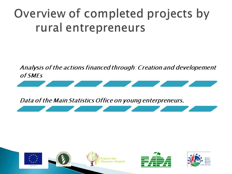 Overview of completed projects by rural entrepreneurs