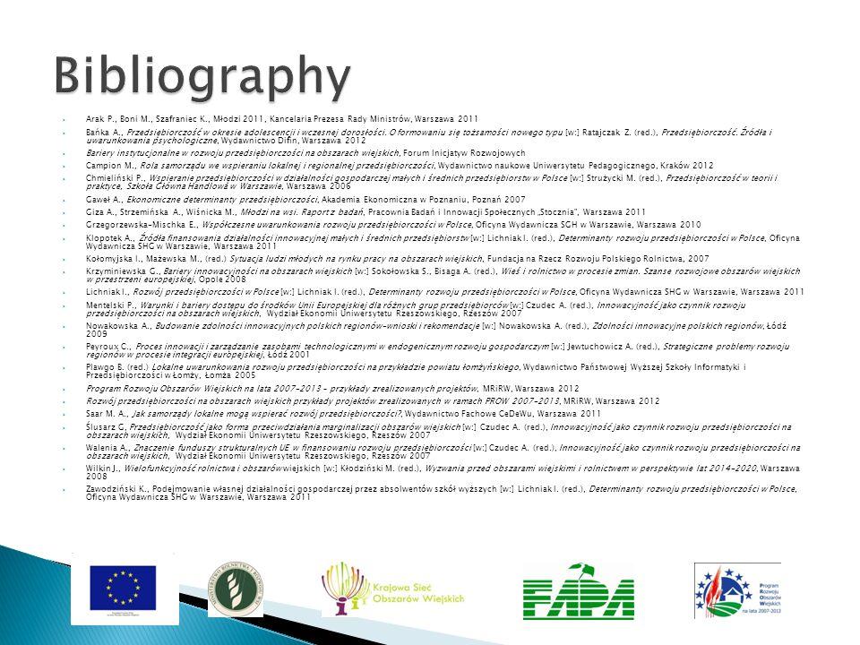Bibliography Arak P., Boni M., Szafraniec K., Młodzi 2011, Kancelaria Prezesa Rady Ministrów, Warszawa 2011.