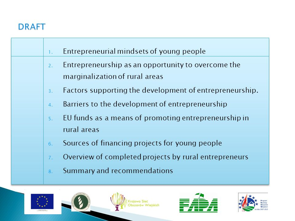 DRAFT Entrepreneurial mindsets of young people