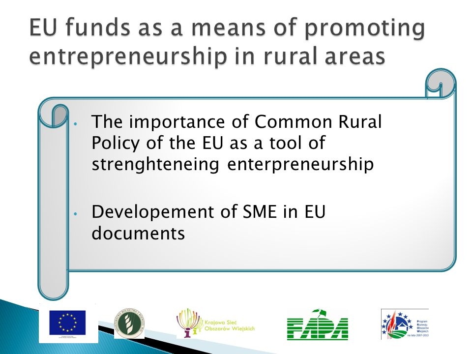 EU funds as a means of promoting entrepreneurship in rural areas