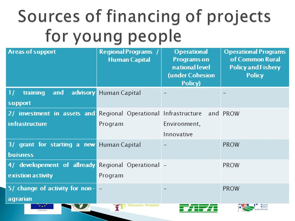 Sources of financing of projects for young people